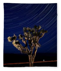 Joshua Tree And Star Trails Fleece Blanket
