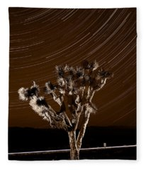 Joshua Tree Night Lights Death Valley Bw Fleece Blanket