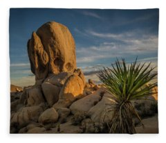 Joshua Tree Rock Formation Fleece Blanket