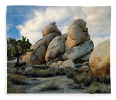 Joshua Tree Rock Formations At Dusk  Fleece Blanket