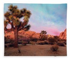 Joshua Tree With Dawn's Early Light Fleece Blanket