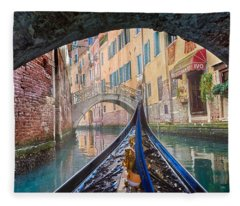 Journey Through Dreams - A Ride On The Canals Of Venice, Italy Fleece Blanket