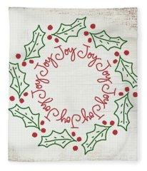 Joy Holly Wreath- Art By Linda Woods Fleece Blanket