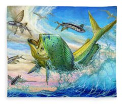 Jumping Mahi Mahi And Flyingfish Fleece Blanket