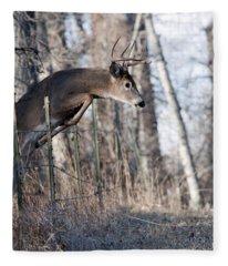Jumping White-tail Buck Fleece Blanket