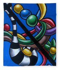 Original Colorful Abstract Art Painting - Multicolored Chromatic Artwork Painting Fleece Blanket