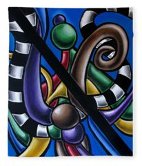 Original Colorful Abstract Art Painting - Multicolored Chromatic Artwork Fleece Blanket