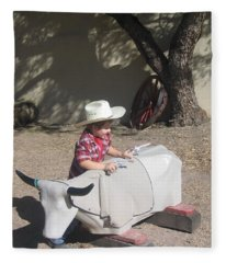 Junior Gunslinger Seeks Cover O.k. Corral Gunfight Site Tombstone Arizona 2004 Fleece Blanket