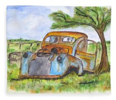 Junk Car And Tree Fleece Blanket