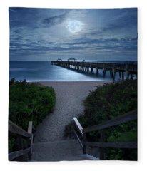 Juno Pier Stairs To Beach Under Full Moon Fleece Blanket