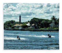 Jupiter Inlet And Lighthouse Fleece Blanket