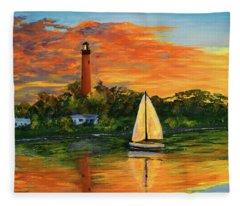 Jupiter Lighthouse Sunrise Fleece Blanket
