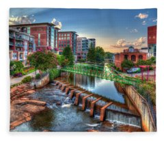 Just Before Sunset 2 Reedy River Falls Park Greenville South Carolina Art Fleece Blanket