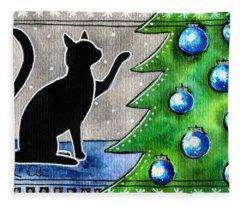 Just Counting Balls - Christmas Cat Fleece Blanket