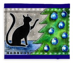Just Counting Balls - Christmas Cat Fleece Blanket