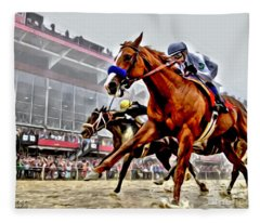 Justify Wins Preakness Fleece Blanket