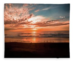K-9 Sunset In Del Mar Fleece Blanket