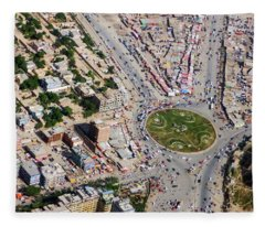 Kabul Traffic Circle Aerial Photo Fleece Blanket