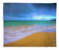 Seascape, Kailua - Lanikai, Oahu, Hawaii Fleece Blanket