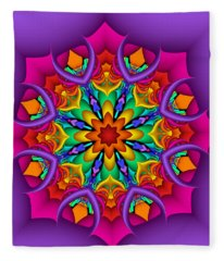 Kaleidoscope Flower 01 Fleece Blanket