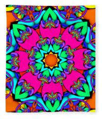 Kaleidoscope Flower 03 Fleece Blanket