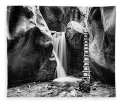 Kanarraville Falls Bw Fleece Blanket