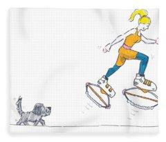 Kangoo Jumps Bouncy Shoes Walking The Dog Keep Fit Cartoon Fleece Blanket