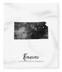 Kansas State Map Art - Grunge Silhouette Fleece Blanket