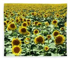 Kansas Sunflower Field Fleece Blanket