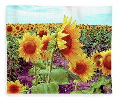 Kansas Sunflowers Fleece Blanket