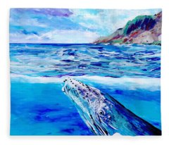 Kauai Humpback Whale Fleece Blanket