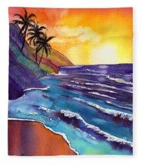 Kauai Na Pali Sunset Fleece Blanket