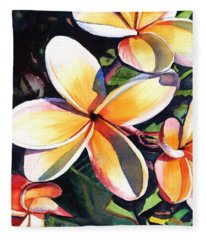 Kauai Rainbow Plumeria Fleece Blanket
