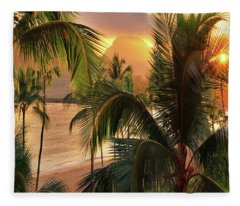 Olena Art Kauai Tropical Island View Fleece Blanket