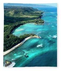 Kawela Bay, Looking West Fleece Blanket