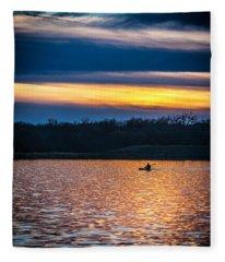 Kayak Sunset Fleece Blanket