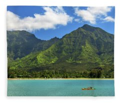 Kayaks In Hanalei Bay Fleece Blanket