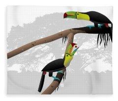 Keel-billed Toucans Fleece Blanket