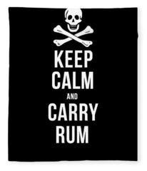 Keep Calm And Carry Rum Pirate Tee Fleece Blanket