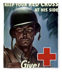 Keep Your Red Cross At His Side Fleece Blanket