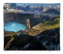 Fleece Blanket featuring the photograph Kelimutu Volcano Panoramic View by Pradeep Raja PRINTS