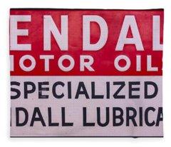 Kendall Motor Oils Sign Fleece Blanket