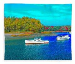 Kennebunkport, Maine, Lobster Boats Fleece Blanket