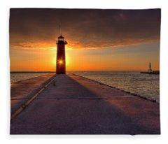 Kenosha Lighthouse Sunrise Fleece Blanket