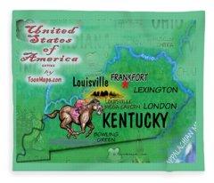 Kentucky Fun Map Fleece Blanket