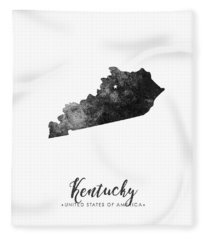 Kentucky State Map Art - Grunge Silhouette Fleece Blanket