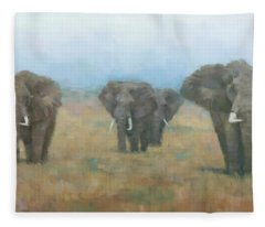 Kenyan Elephants Fleece Blanket