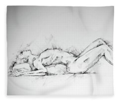Sketchbook Page 55 Charcoal Drawing Woman Lateral Pose Fleece Blanket