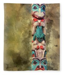Ketchikan Alaska Totem Pole Fleece Blanket