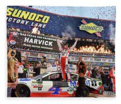 Kevin Harvick In The Winners Circle At Texas Motor Speedway Fleece Blanket
